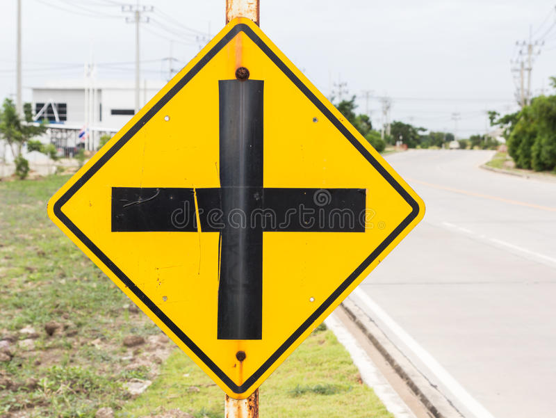 Traffic signs. Yellow road signs, traffic signs royalty free stock photos