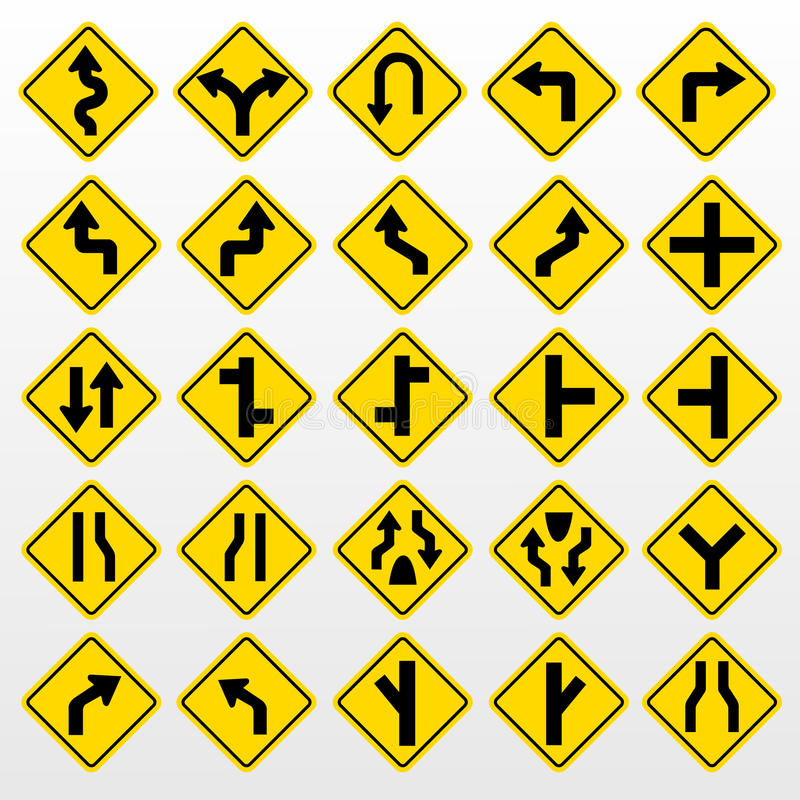 Traffic Signs. Yellow road signs, traffic signs set on white background royalty free illustration