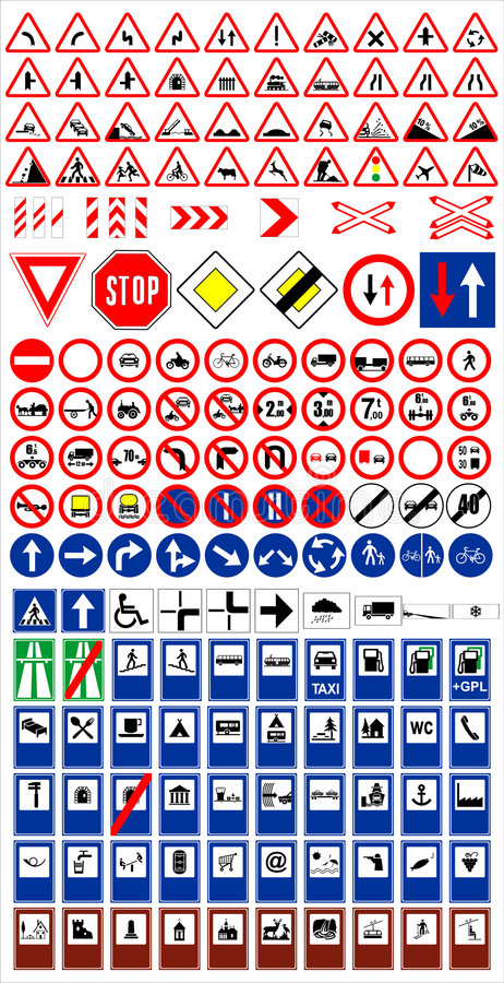 Download Traffic signs1 stock vector. Image of lane, arrows, icon - 6704562