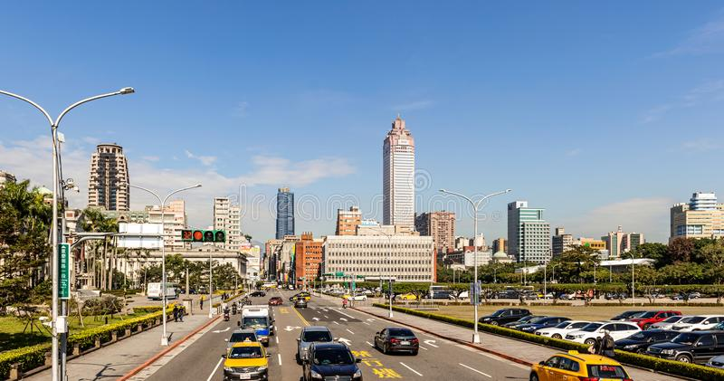 Traffic and sity of Taipei skyline, Taiwan. Taipei, Taiwan - Jan 16, 2018: Landscape view at traffic and cityscape buildings in Taipei, Taiwan stock image