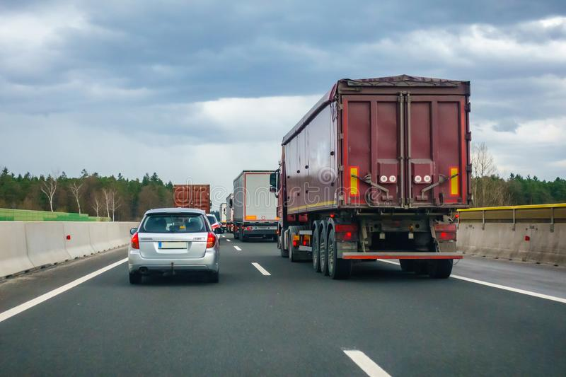 Traffic on Slovenian highway A1 between Maribor and Ljubljana royalty free stock photos