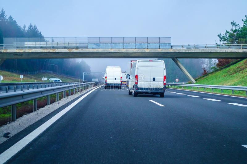Traffic on Slovenian highway A1 between Maribor and Ljubljana royalty free stock photography
