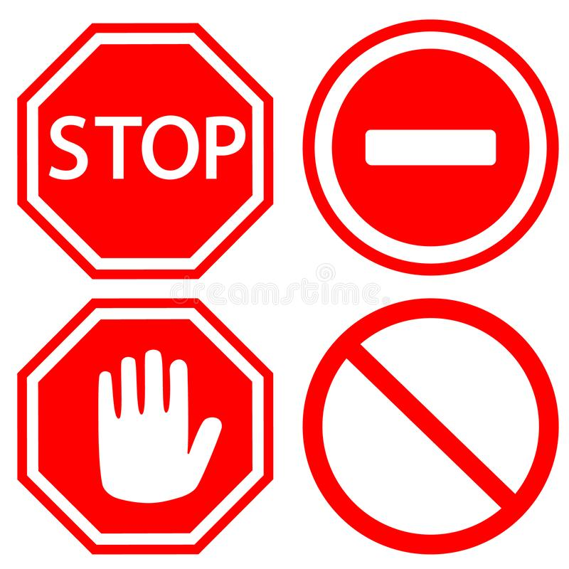 Free Traffic Stop Vector Icons Set. Stop Icon Illustration. Wor Web. Royalty Free Stock Images - 153459009