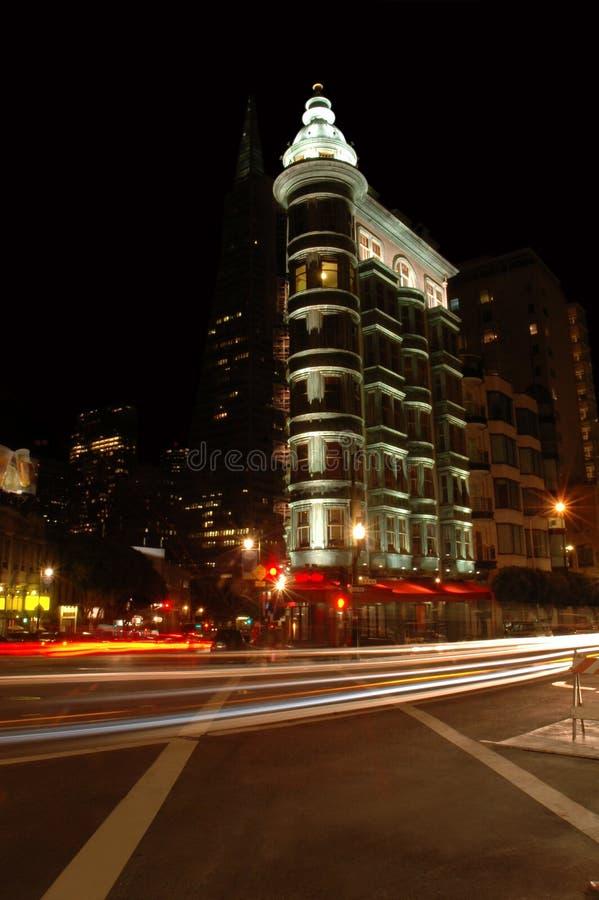 Traffic Streaks, San Francisco. Traffic Streaks on City Streets, Kearny Street, San Francisco royalty free stock photo