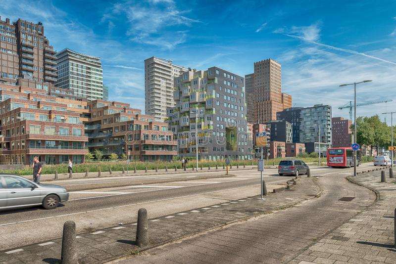 Traffic in streets of amsterdam, cars, bus, Bicycles, zuidas in Amsterdam, luxery apartments, living, houses, VU MC. Amsterdam, De Boelelaan, The Netherlands, 08 royalty free stock image