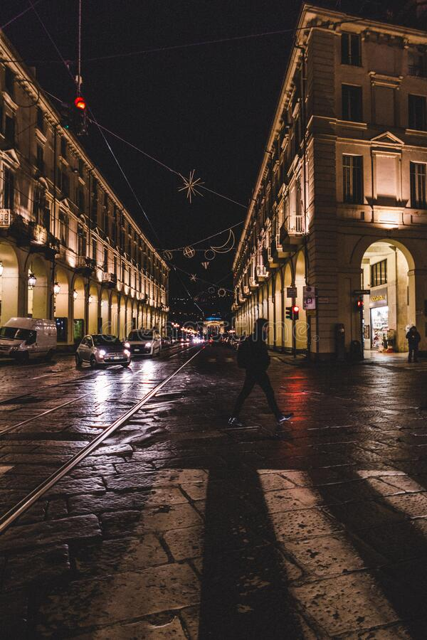 Traffic on streets at nights royalty free stock images