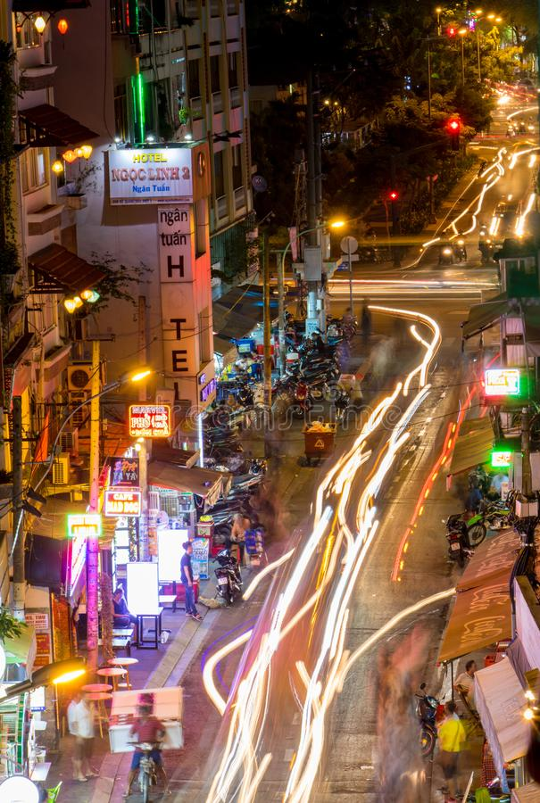 Traffic in the streets of Saigon City. SAIGON, VIETNAM, DEC 13 2017, Traffic in the streets of Saigon City. Life in night Ho Chi Minh city stock photography