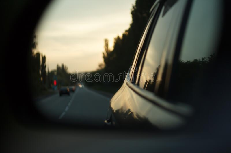 Traffic on sunset. View from the car. Moody shot. royalty free stock images