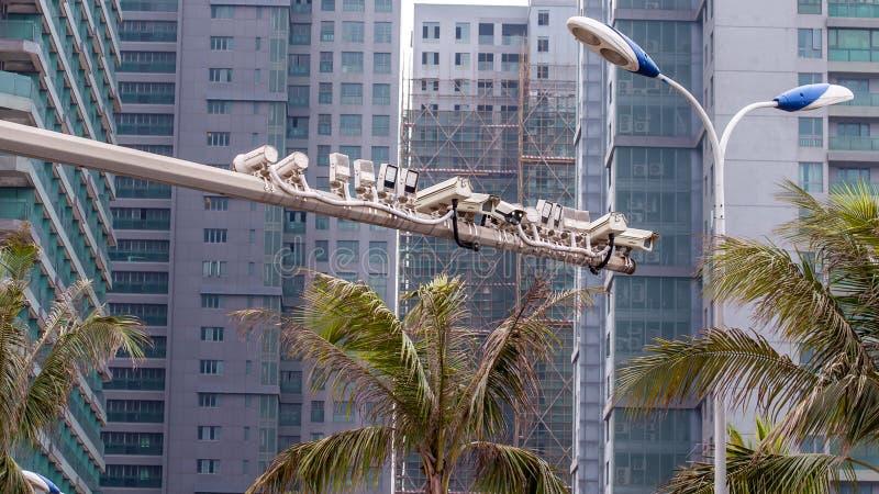 Traffic surveillance cameras. Road police outdoor video camera royalty free stock image