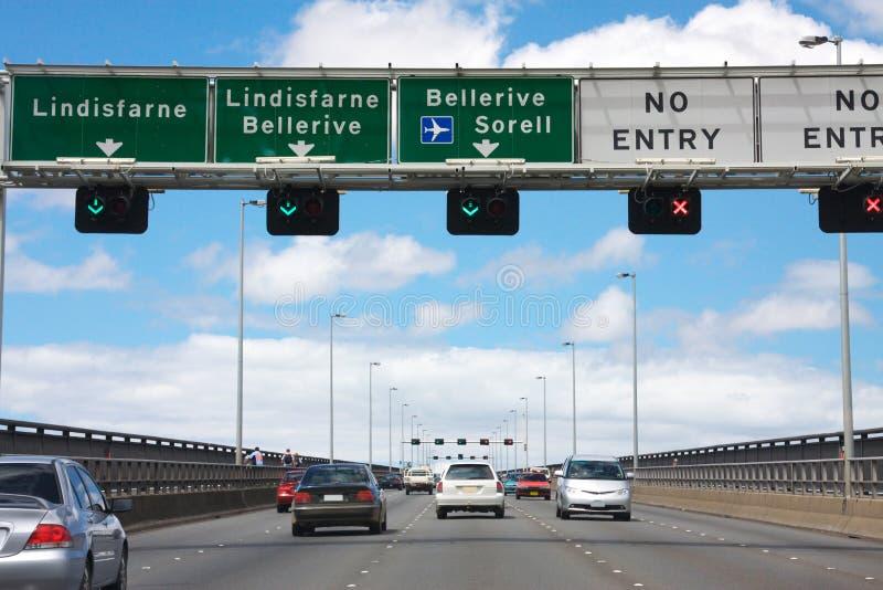 Traffic on Tasman Bridge royalty free stock images