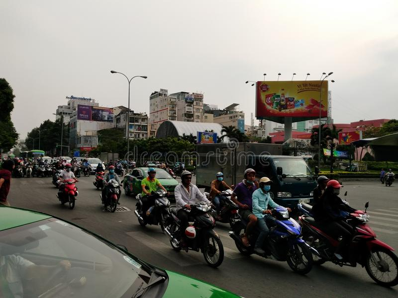 Traffic to Ho Chi Minh Vietnam. Road, motorcycles stock images