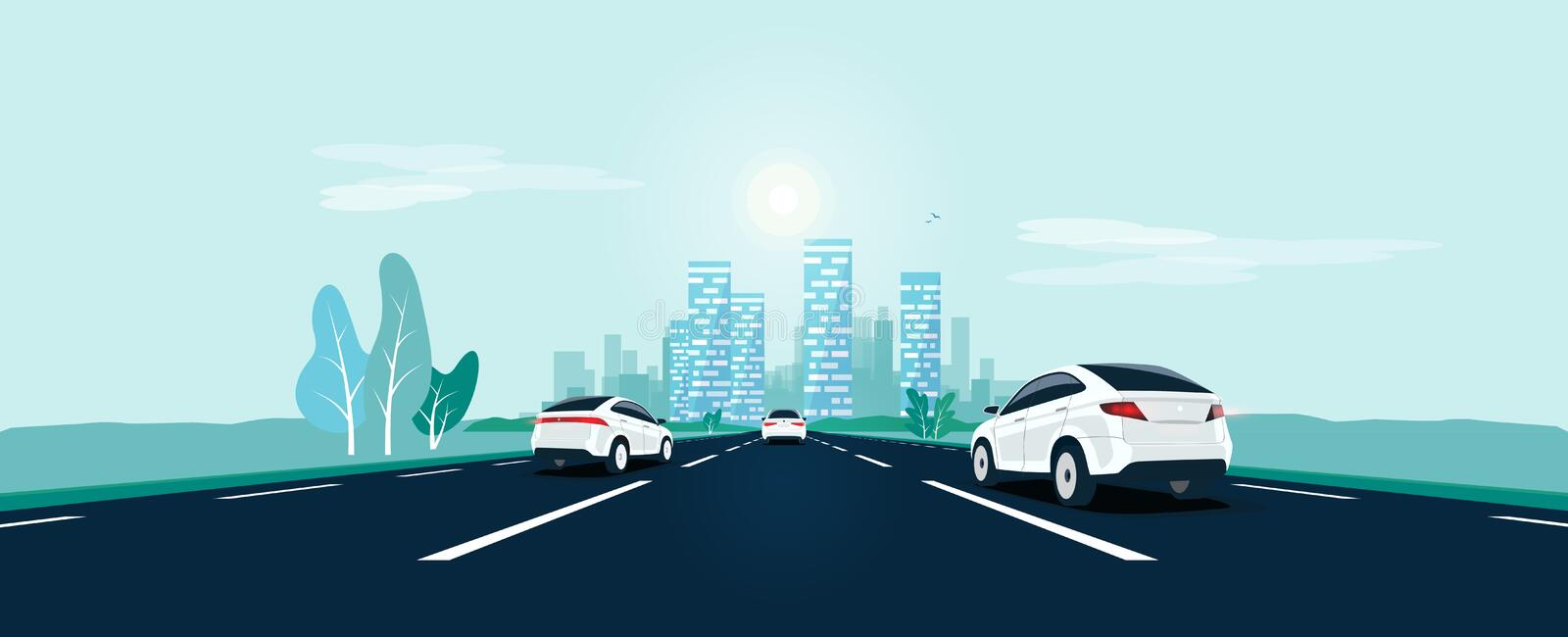 Traffic on the Toad Perspective Horizon Vanishing Point View with City Skyline vector illustration