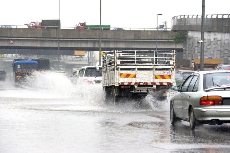 Traffic in Torrential Rain royalty free stock images