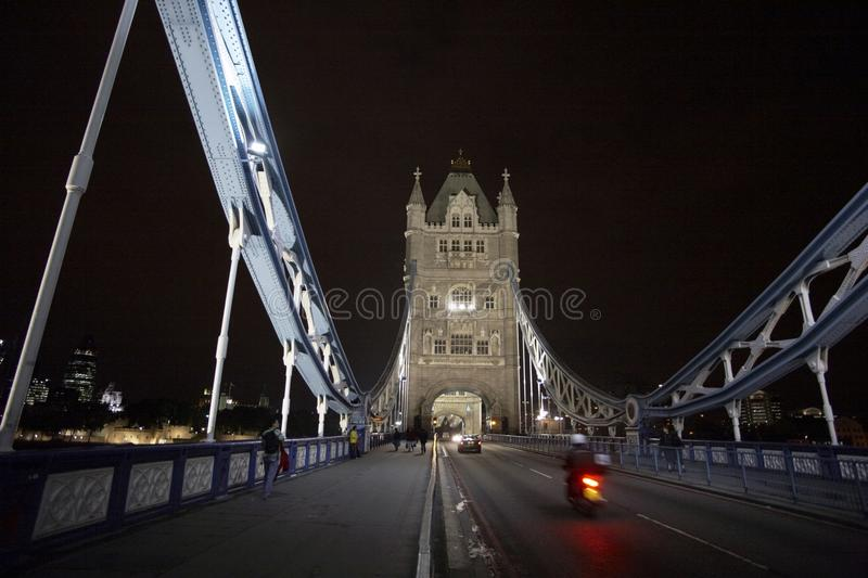 Traffic on Tower Bridge. Symbol of London - Tower Bridge. August 2006 royalty free stock photography
