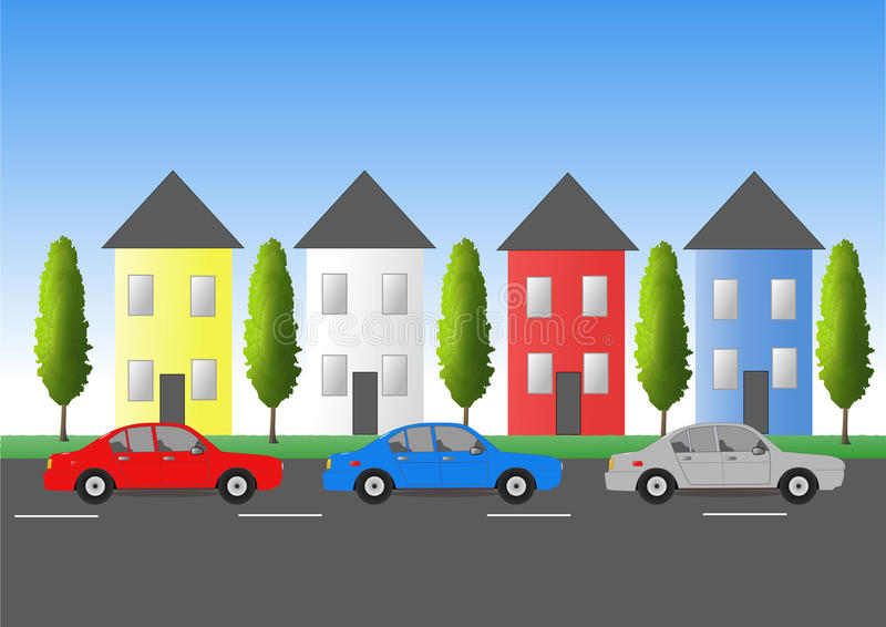 Traffic in town. Car traffic in town with houses vector illustration