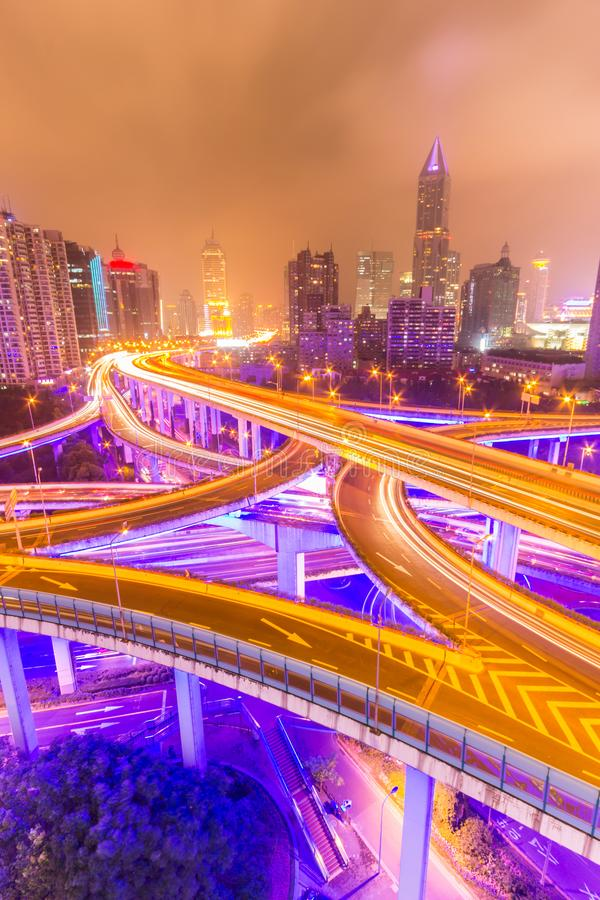 Traffic tracks in the downtown area of Shanghai at night royalty free stock photography