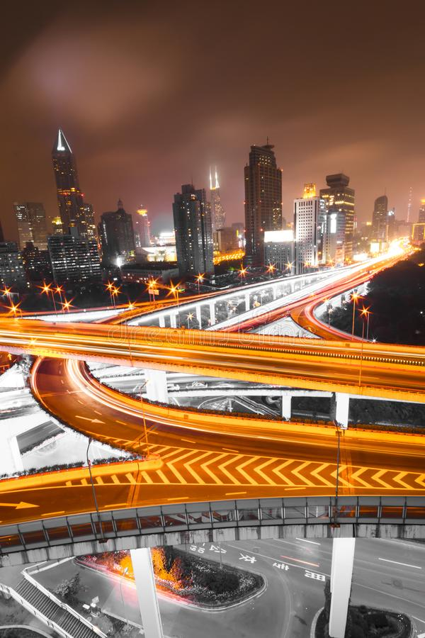 Traffic tracks in the downtown area of Shanghai at night stock photo