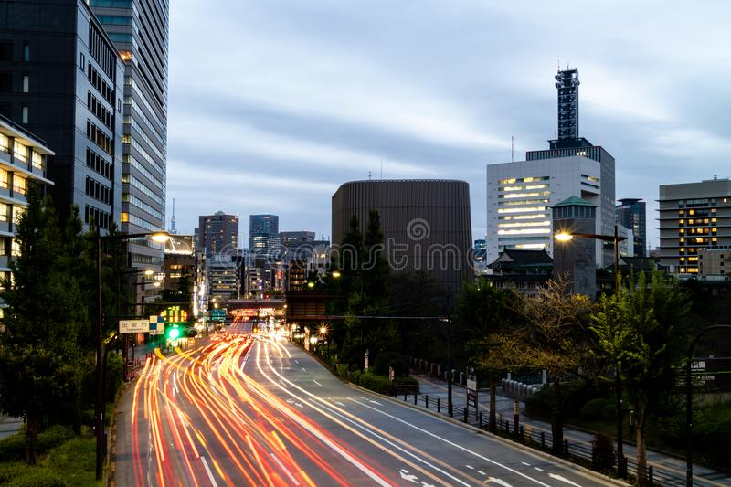 Traffic travelling in and out of Tokyo on an evening after work.  royalty free stock photography