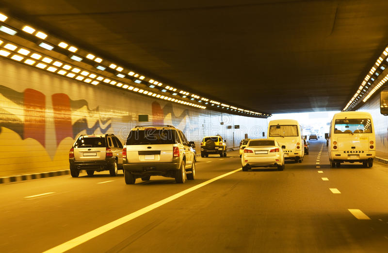 Traffic In Tunnel At Dubai, UAE Royalty Free Stock Image