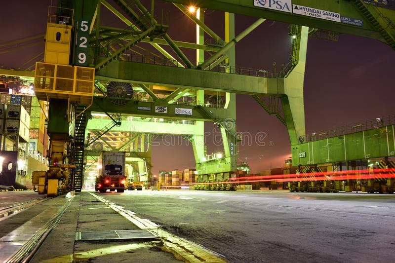 Traffic under the gantry stock photography