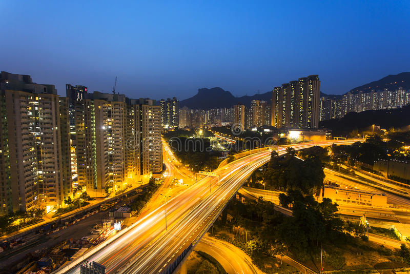 Traffic under Lion Rock Hill in Hong Kong stock image