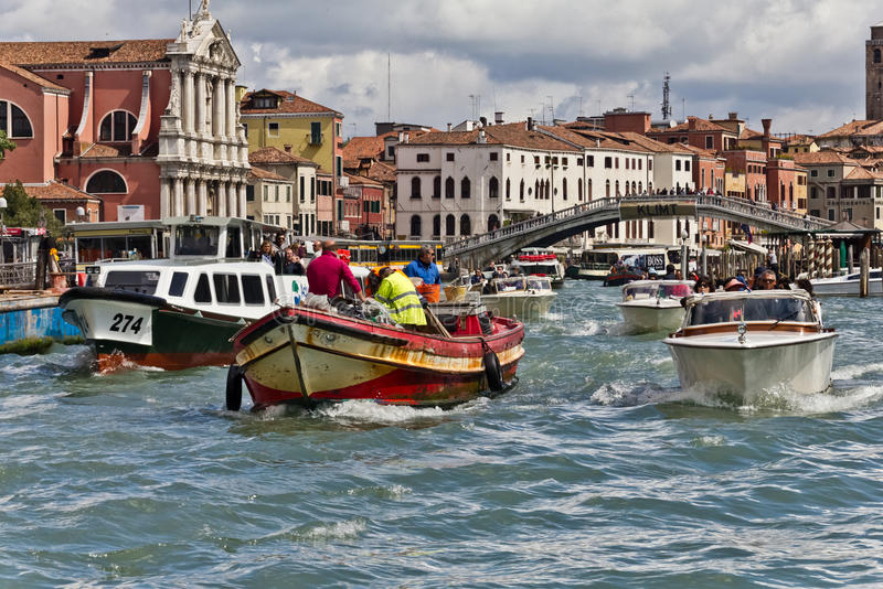 Traffic on Venice Grand Canal stock images