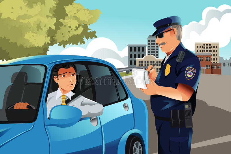 Traffic violation. A vector illustration of a policeman giving a driver a traffic violation ticket