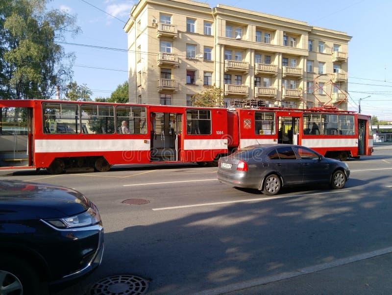 Traffic violation. Dangerous driving. The Blagodatnaya Street, Saint Petersburg. stock images
