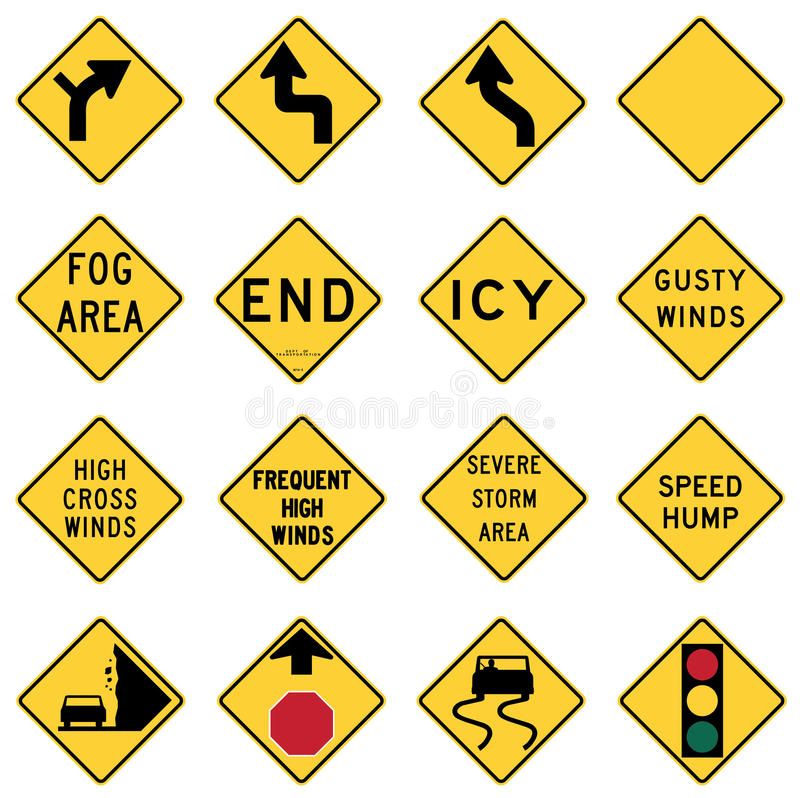 Free Traffic Warning Signs In The United States Stock Images - 30052894