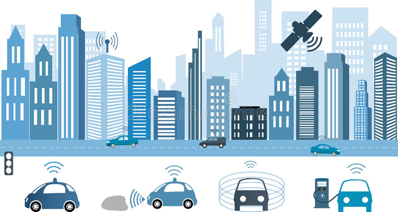 Traffic and wireless network, Intelligent Transport Systems. Autonomous Driverless Car.Automobile sensors use in self-driving cars Electric car charging at the vector illustration