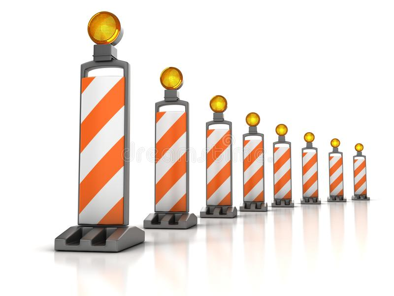 Traffic works. Vertical Panel Channelizers stock illustration