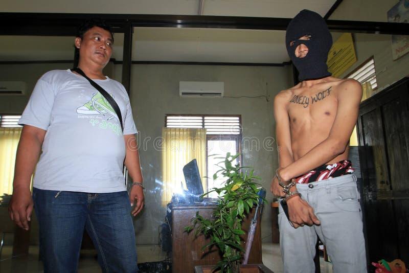 Trafficante di droga arrestato polizia fotografia stock