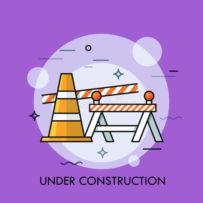 Traffichi il cono, la barriera di sicurezza stradale ed il nastro restrittivo Concetto del sito Web in costruzione, errore 404, r royalty illustrazione gratis