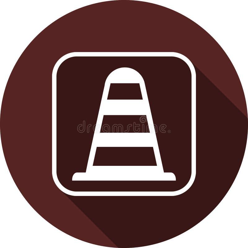 Traffichi l'icona del cono nel profilo bianco del quadrato Piano bianco illustrazione vettoriale