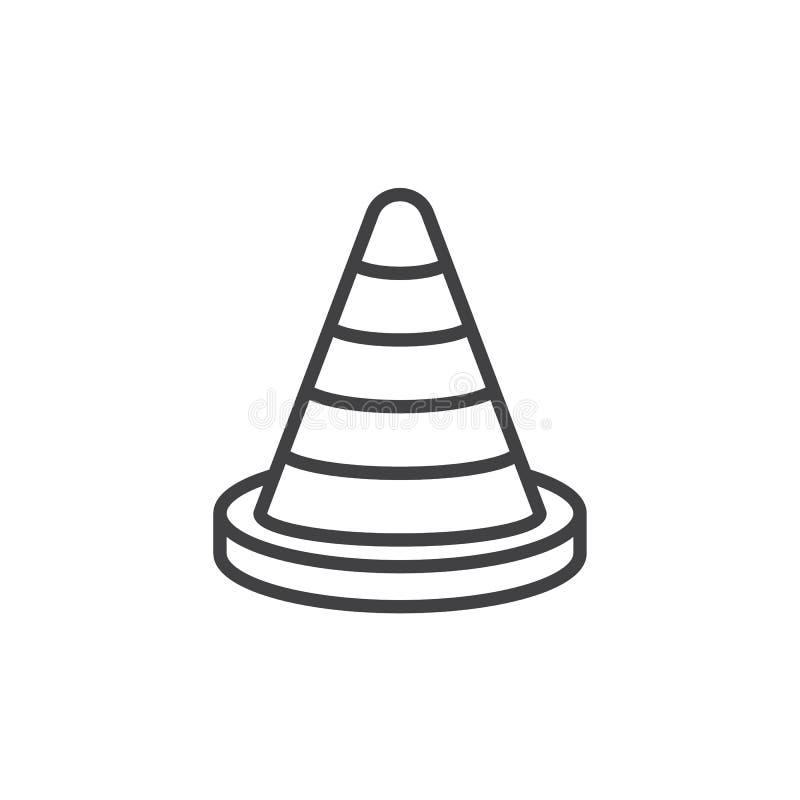 Traffichi la linea l'icona, il segno di vettore del profilo, pittogramma lineare del cono di stile isolato su bianco royalty illustrazione gratis