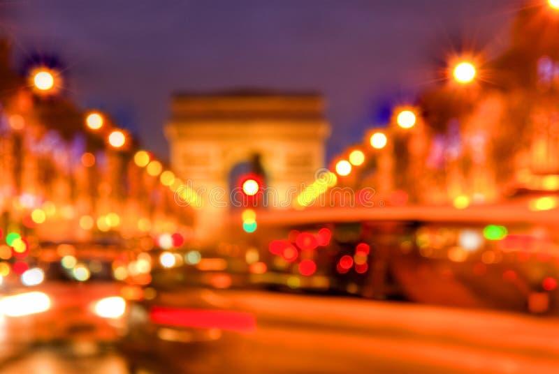 Traffico astratto su Champs-Elysees immagine stock