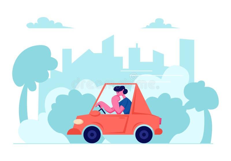 Traffico cittadino, uomo che conduce automobile sul fondo urbano di paesaggio urbano, trasporto sulla gara motociclistica su pist royalty illustrazione gratis