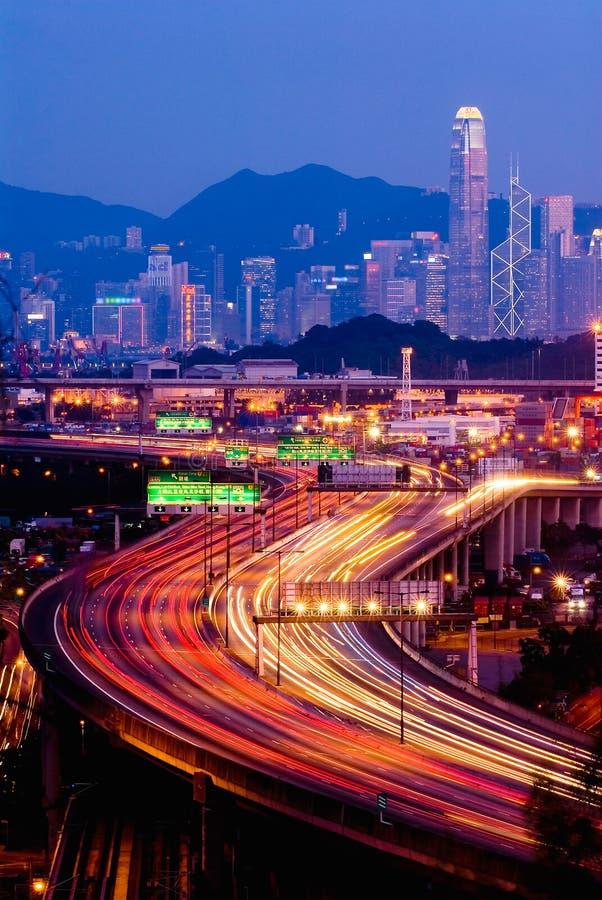 Traffico dell'orizzonte di Hong Kong immagine stock libera da diritti
