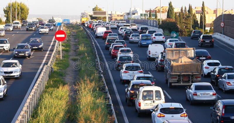 Traffico denso in autostrada di Palma di Maiorca fotografia stock libera da diritti