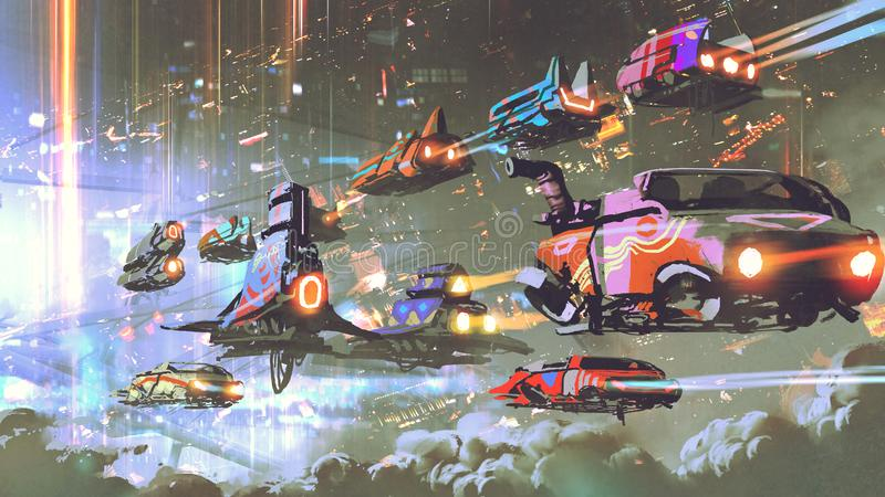 Traffico di automobile volante nel mondo futuristico illustrazione di stock