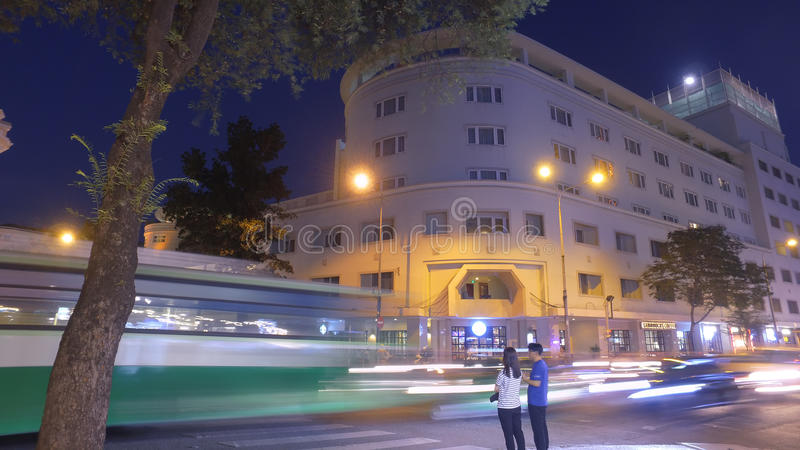 Traffico di notte in Ho Chi Minh immagine stock libera da diritti