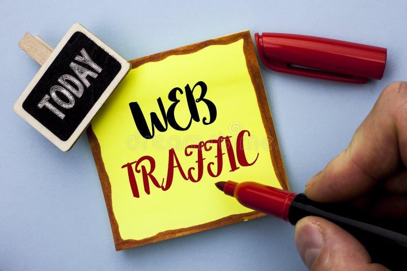 Traffico di web del testo di scrittura di parola Il concetto di affari per il pubblico degli ospiti di spinta di Internet visita  fotografia stock libera da diritti