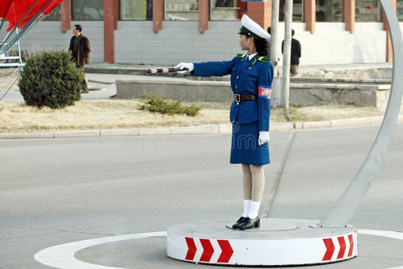Traffico femminile police.DPRK fotografia stock
