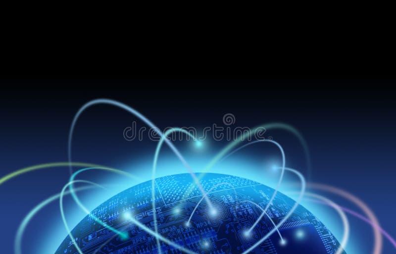 Traffico in Internet sopra il mondo del circuito royalty illustrazione gratis