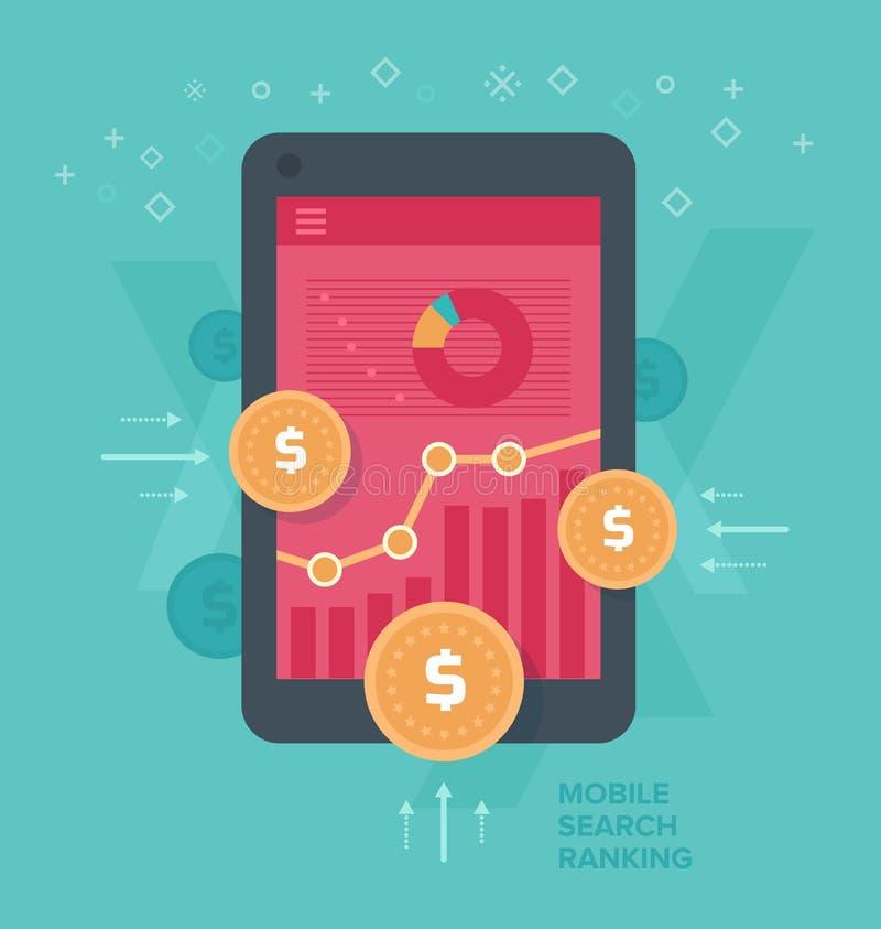 Traffico mobile Monetizing di web illustrazione di stock