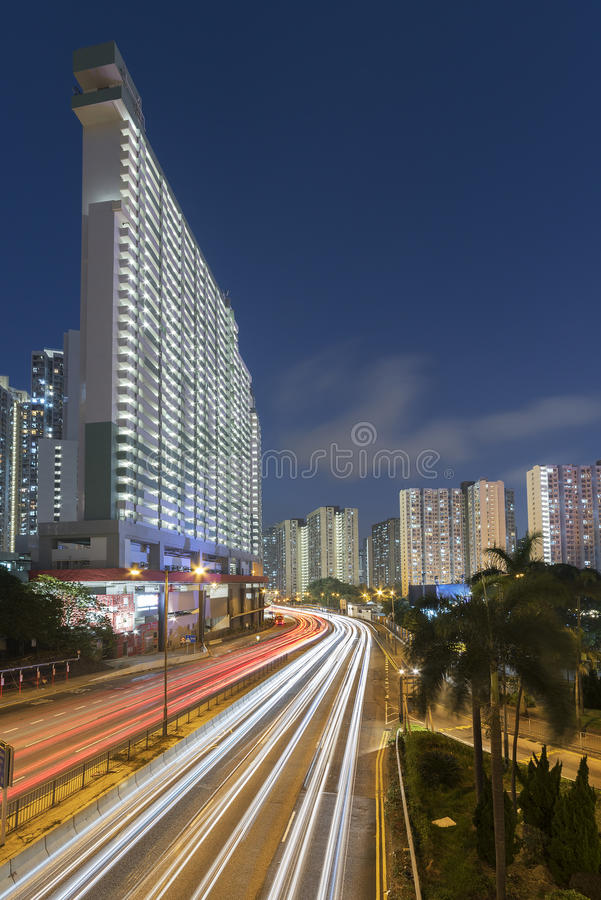 Traffico occupato nella città di Hong Kong immagini stock libere da diritti