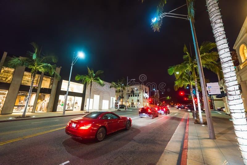 Traffico in Rodeo Drive fotografia stock