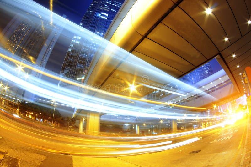 Traffico veloce della città moderna di Hong Kong fotografia stock libera da diritti