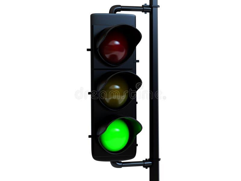 Traffico verde chiaro con indicatore luminoso illustrazione vettoriale
