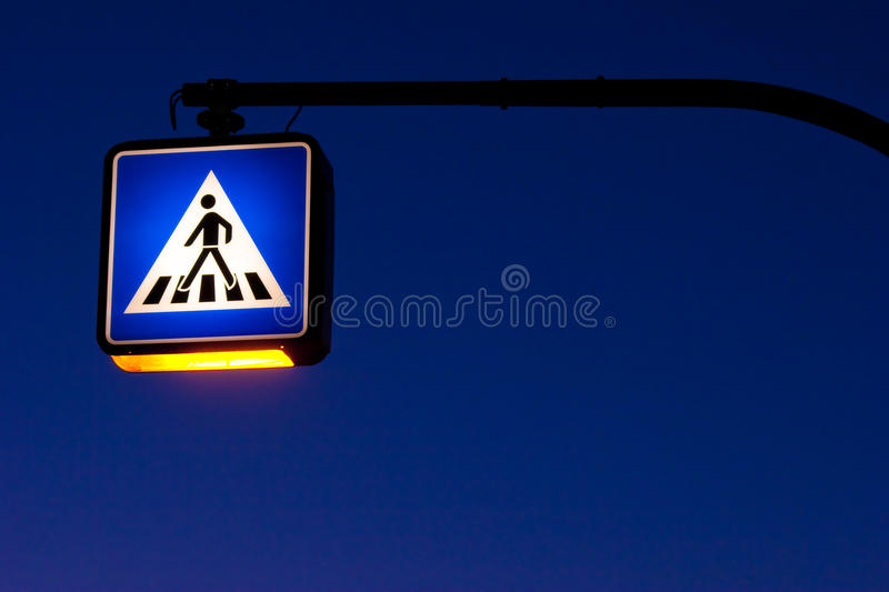 Traffig sign at night stock images